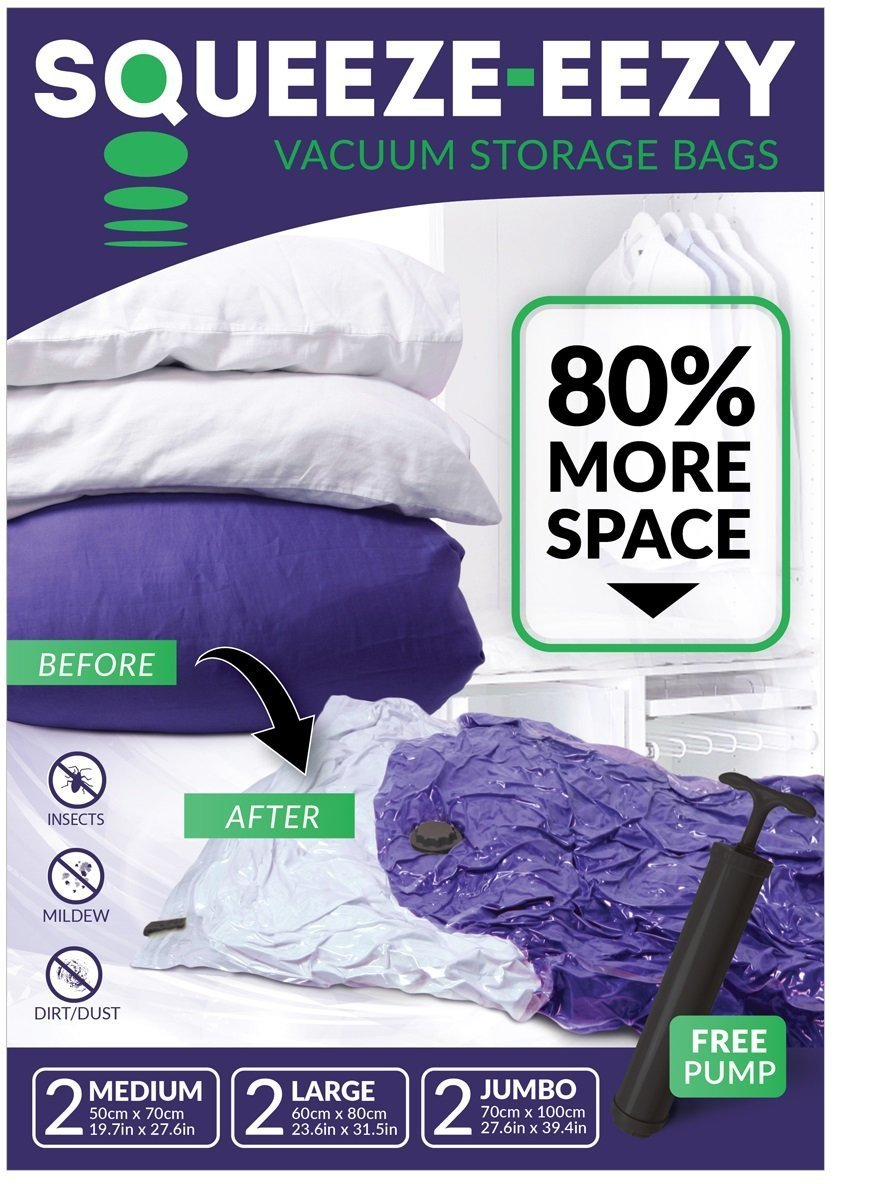 NEW: Original Vacuum Storage Space Saver Bags for Clothes, Duvets, Pillows & Travel Luggage. Max Double Strength Ziploc. 6 Pack [Jumbo, Large, Medium] and FREE Hand Pump [80% More Storage]