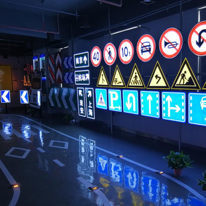SKY best quality transparent warning signs LED Solar powered traffic sign
