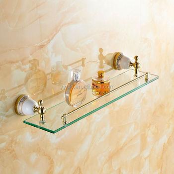 6606 Gold Plated Glass Shelf Ceramic Bathroom Accessories Glass ...