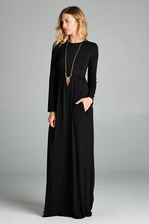 lange maxi jurken met lange mouwen