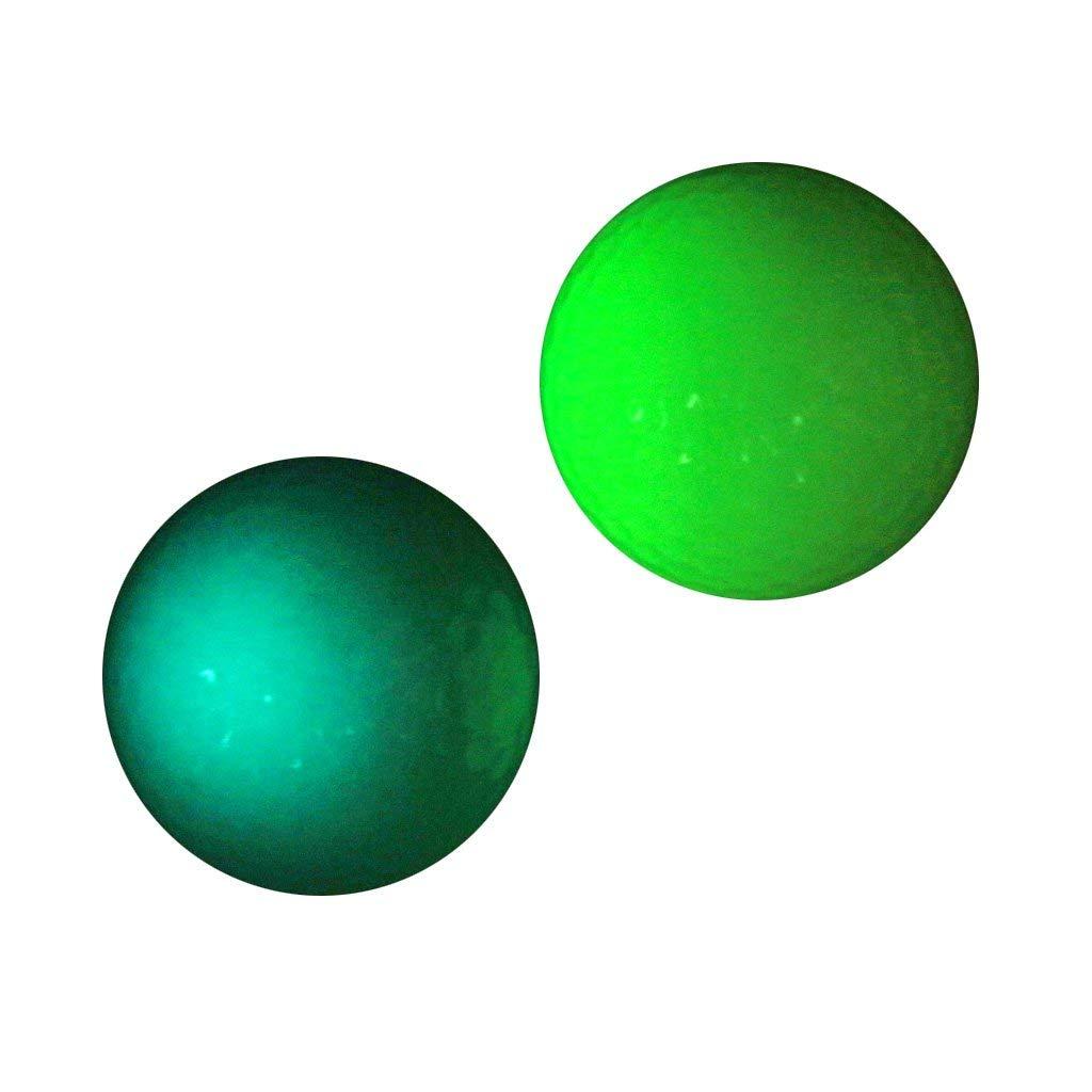 Dovewill 2 Pieces Golf Luminous Ball Training Balls Professional Fluorescent Rubber Tournament Ball Golf Gift Accessory Blue Green