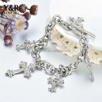New Design 2017 Latest 316L Stainless Steel Cross Accessory Bracelet
