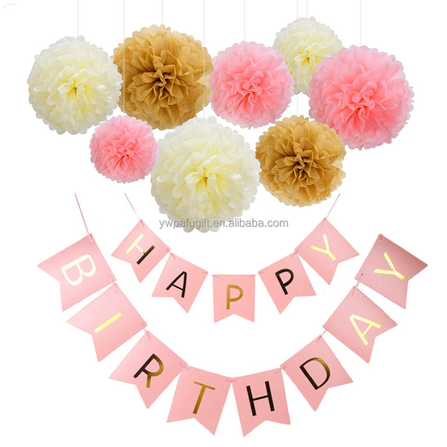 birthday party supply fish tail banner paper pom poms