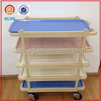 3 tier pink plastic rolling cart for supermarket food transport