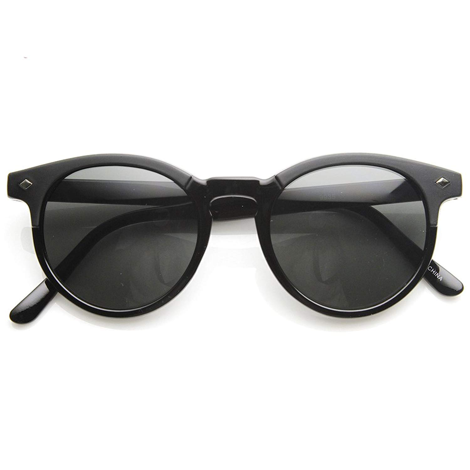 5f575ed4a29 Get Quotations · zeroUV - Studded P3 Horned Rim Keyhole Round Horn Rimmed  Sunglasses