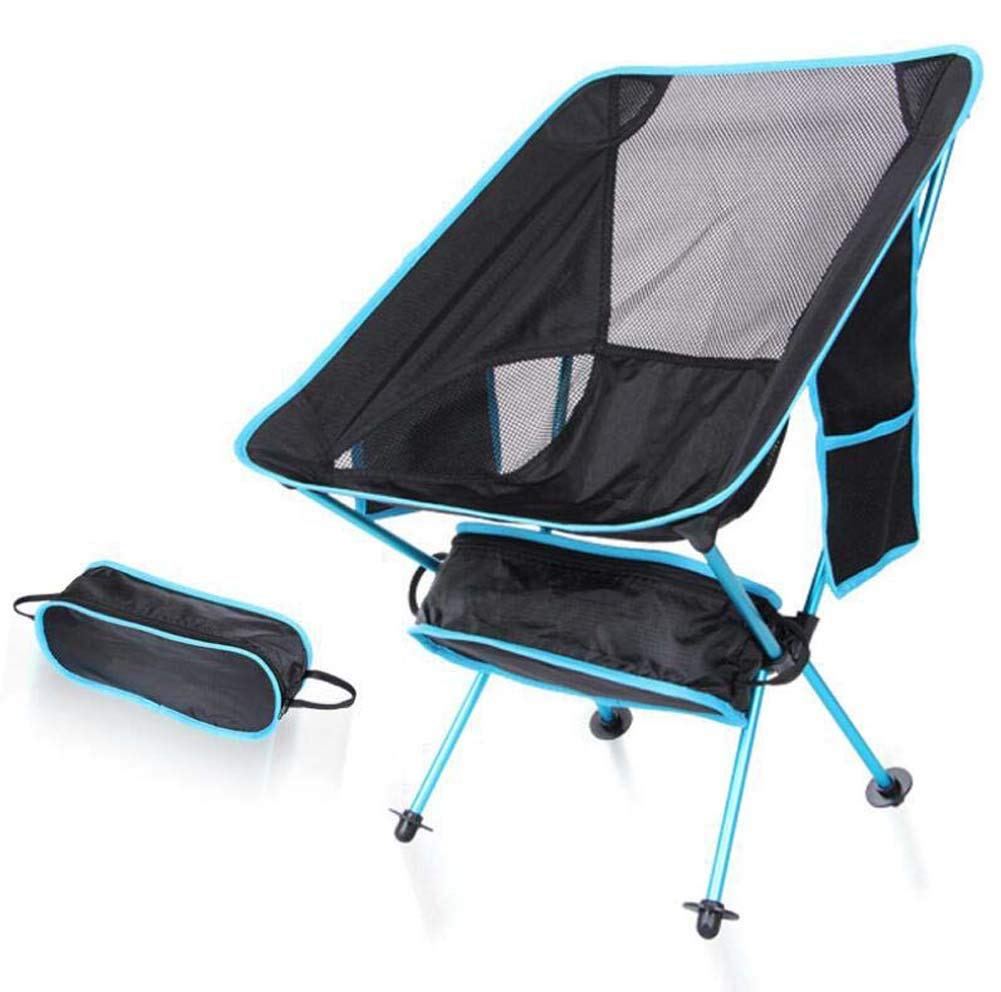 Onfly Outdoor Folding Chair Portable Ultra-light Moon Chair Director Chair Aviation Aluminum Backrest Side Pocket Fishing Stool Camping Beach Chair With Carry Bag