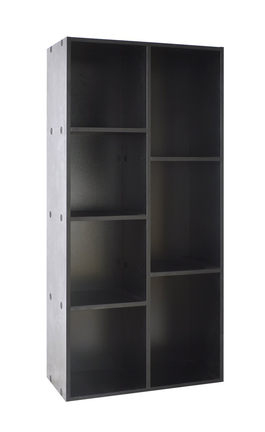 Bestwoohome Wood 7 Cubbies Storage Cabinet Organizer Bookcase (Black)