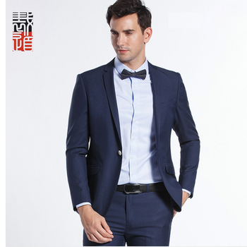 efda7784ef5 Manufacture Skinny Fit Dark Blue One Button Coat Pant Men Suit ...