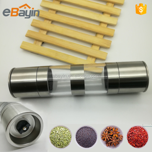 China Hot sale hand manual salt and pepper commercial dry Spice grinder with stainless steel caps