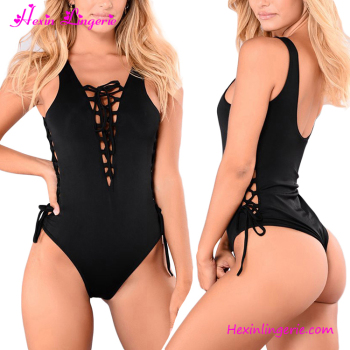 32c8166218 Mature Women Deep V Neck Cross Front Black One Piece Swimsuit - Buy ...