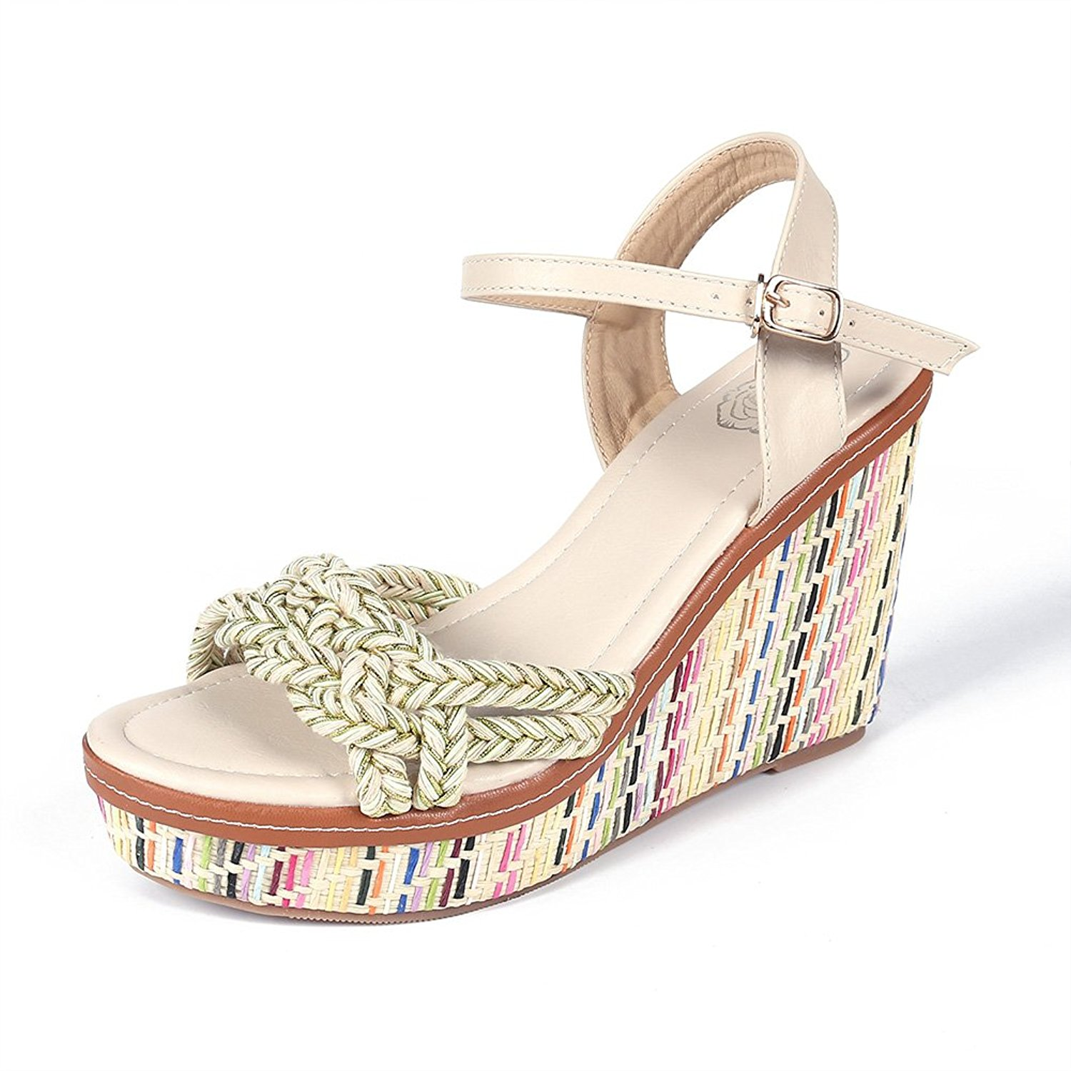 911eb68e018a8 Get Quotations · Shevalues Women Summer Bohemian Wedge Sandals High Heel  Platform Wedge Rope Braided Strap Espadrille Wedge Sandals
