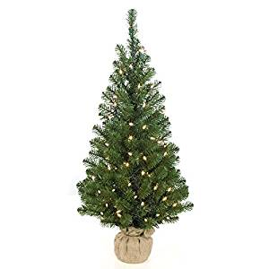 "36""Hx17""W Mountain Pine Lighted Artificial Tree w/Burlap Base -Green"