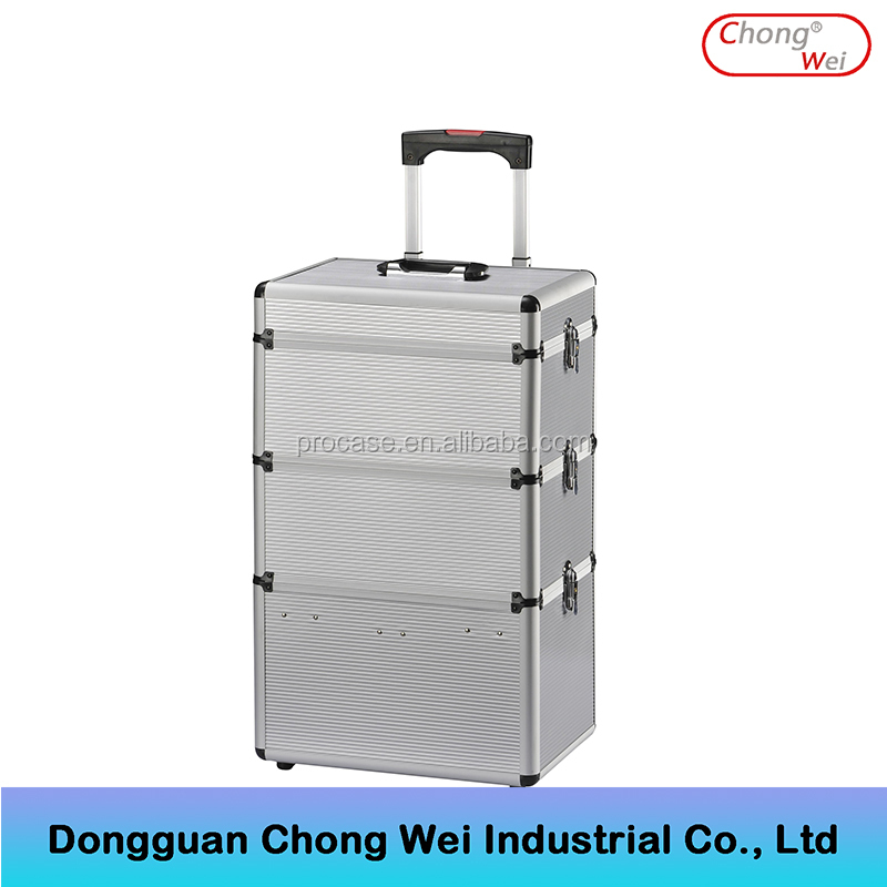 High Quality 2 in1 Hard ABS Aluminum Beauty Make Up Case Cosmetic Tool Trolley Case