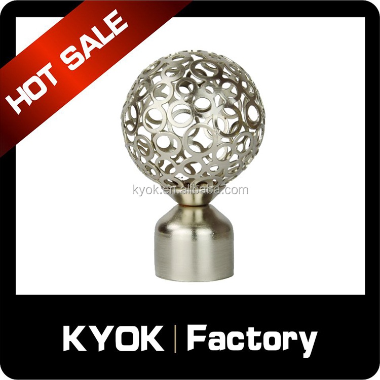 KYOK Higu quality round hollow curtain rod end,high quality curtain finials , curtain rods wholesale in China