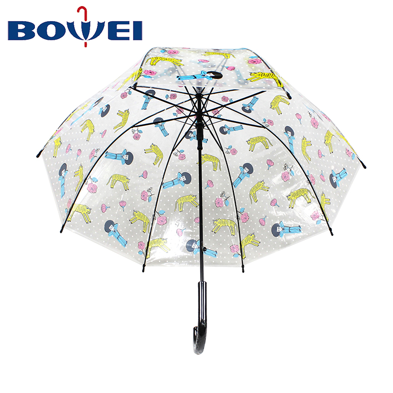 Promotional Dome Shape POE Transparent Umbrella with Clear Printing