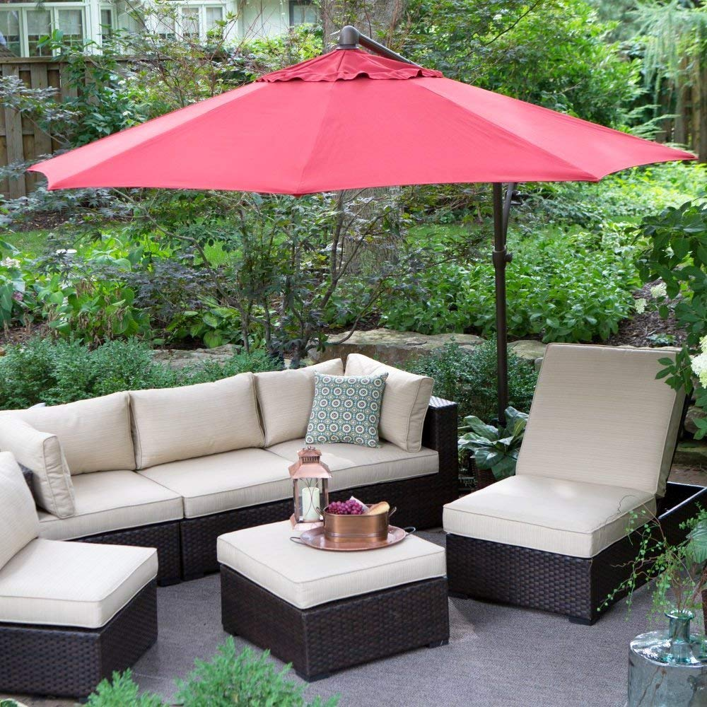 Patio - Umbrella Large, Outdoor, Round. For Garden, Patio, Lawn, Pool, Dining Set. Offset Design On Crank Lift, Rotating Canopy With Wind Vent & Adjustable Auto Tilt. 10-ft. (Sand)
