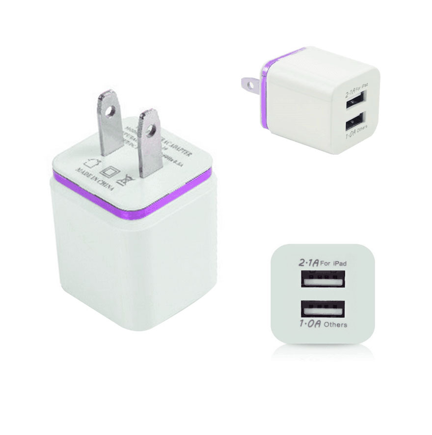 Factory Price Universal 2 Ports USB Chargers EU US Plug 5V 2.1A Wall Travel Mobile Phone Charger