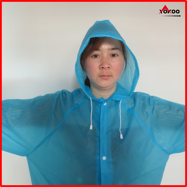 Cheap emergency PEVA long raincoat with sleeves for adult