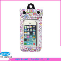 Flower zipper travelling plastic recycled water proof bag phone