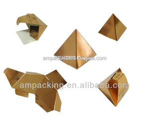 easy put up shiny PET carton pyramid box for small chocolate gift/tea packaging