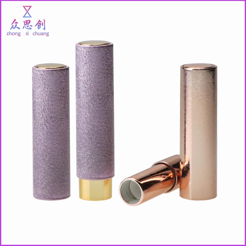 Custom new lip rouge empty packaging plastic round cylinder hot stamp classic press type lipstick case with push buttom ZK68054
