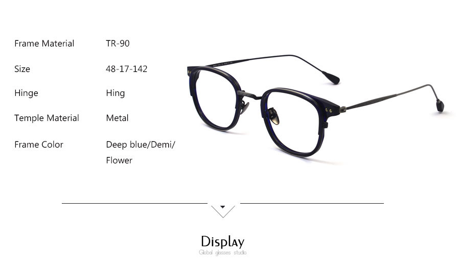 ca6c888129 New Super Light Graceful Square TR90 Eyeglasses Vintage Retro Spectacles  Prescription Glasses 9805. Size  48-17-142. Color  Blue Demi Flower. MOQ   5PCS