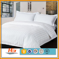 300T cotton sateen stripe king size hotel bed linen set wholesale bedding
