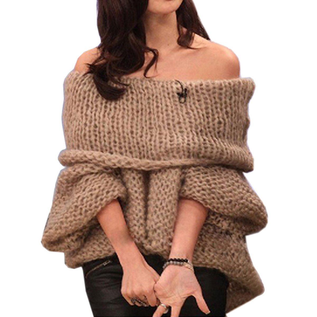 Paradise Kiss Sweet Womens Boat Neck Sweater Batwing Off Shoulder Knit Jumper Pullover Tops (coffee)