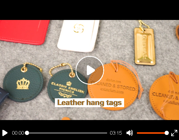 custom Debossed logo leather hang tag with leather string