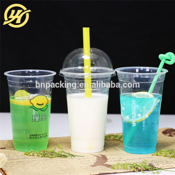 12oz disposable PET smoothies plastic cup with lids