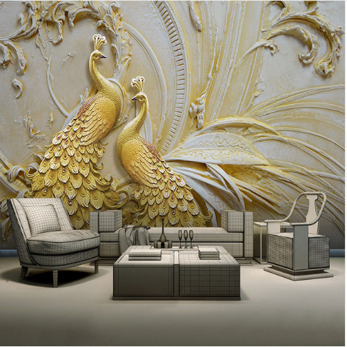 Embossed Golden Peacock Wall Painting Wallpaper Mural For Drawing Room Buy Wall Painting Wallpaper Wallpaper For Drawing Room Straw Wallpaper