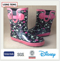 hot sale pink five-pointed star print cheap custom print rubber wellington manufacturer