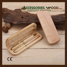 2017 hot sale wood Fashion style double wooden pens in the wood box with customized logo