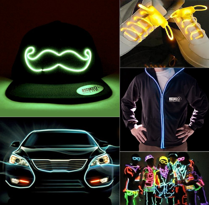 Car Interior Decor Fluorescent Strip 3v 6v 12v 220v inverter flashing neon glow light led light up el wire