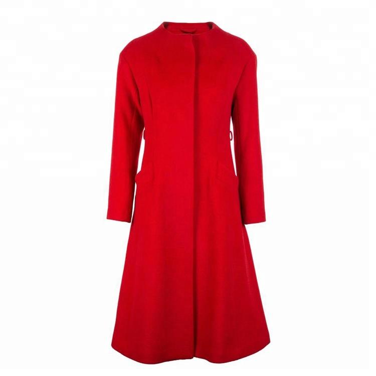 Winter new women's double pocket waist version of long wool coat