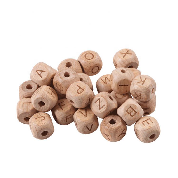 Eco-Friendly Organic Beech Wood Teething Beads Wooden Teether Beads For Baby
