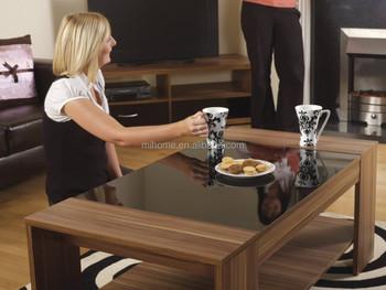 Moderne grote fargo tafel walnoot vaneer zwart hoogglans koffie