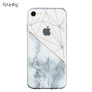 IMD Slim Fit Clear Bumper Soft TPU Marble Pattern Case Cover for Apple iPhone 6 7 8