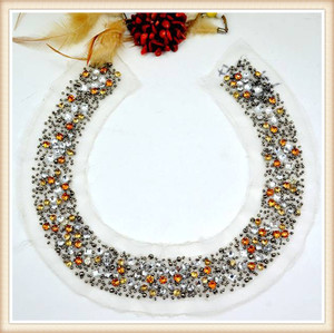 Round shinny rhinestone beaded collar round neck designer kurti for maxi dress/ long top/skirt hand embroidery
