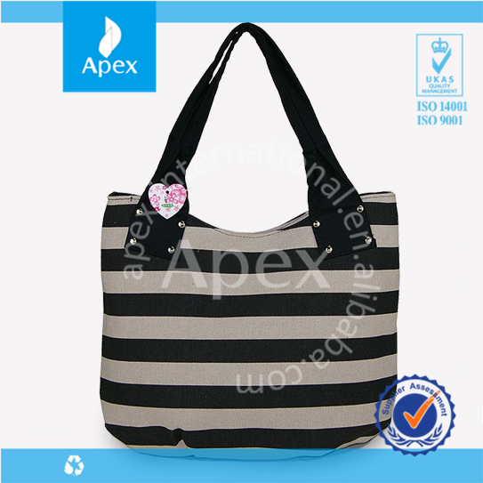 Hot sale stripe canvas promotional tote bags