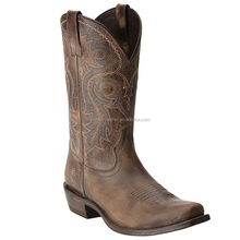 brown genuine leather handmade Square toe western cowboy boots wholesale