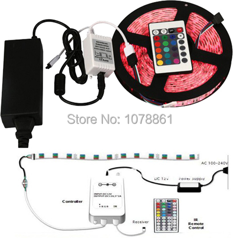 Free Shipping LED rgb Strip 5050 60leds/M 5m 12v (IR remote Controller+power supply)aluminium profile led strip