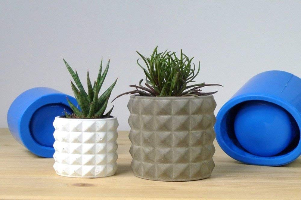 Concrete silicone mold for geometric planters, set of two