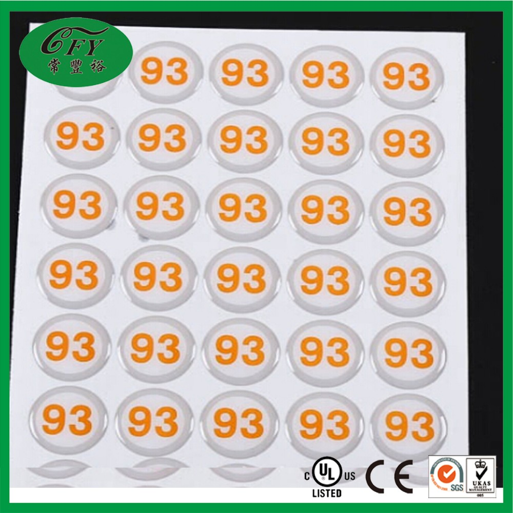 3d crystal letter stickers/ brand name logo sticker/plastic round sticker