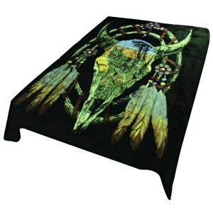 Cow Skull Wolf Dream Catcher Heavy Weight 3.2kg (7lbs) Acrylic Mink Blanket
