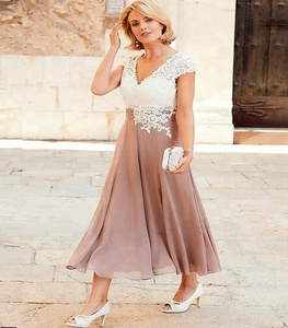 A-Line/Princess V-Neck Ankle-Length Lace Mother of the Bride Dress With Appliqued
