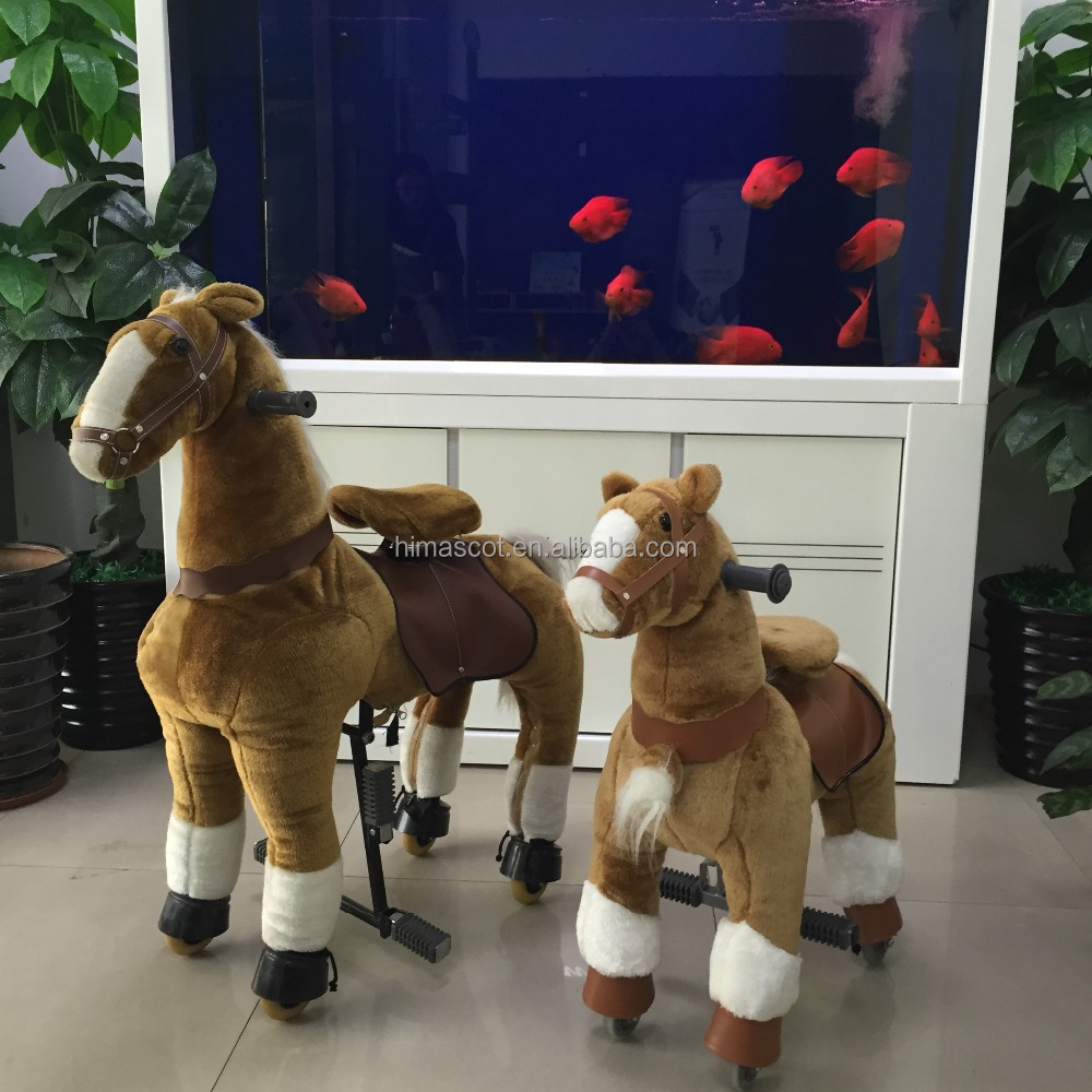 HI CE adult size mechanical ride on horse for kids,walking ride on animal with plush soft