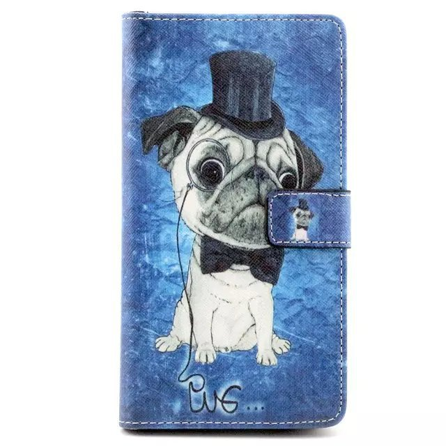 c1a35b84e22 Get Quotations · Hat dog pattern leather case with stand and card functions  for Huawei mate 7