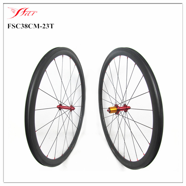 Xiamen Leading carbon wheels and rims supplier 700C 38mm 23mm tubeless compatible carbon bicycle wheels clincher no outer holes