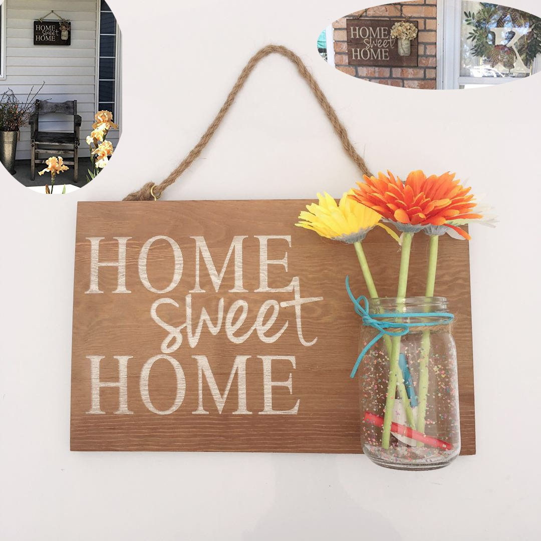 Yonor Rustic Wood Home Welcome Sign, Home Sweet Home Vintage Brown Sign, Rustic Wood Porch Sign, Rustic Front Door Decorations Welcome Sign (Home Sweet Home, Wine Brown)